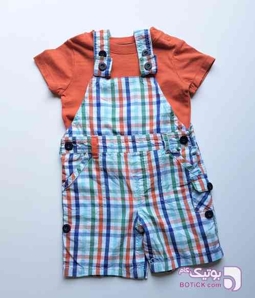 بلوز و شلوار پیشبندی نارنجی لباس کودک پسرانه