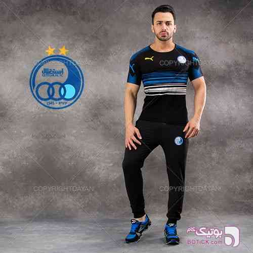 ست تیشرت شلوار استقلال مدل Oksval  آبی ست ورزشی مردانه