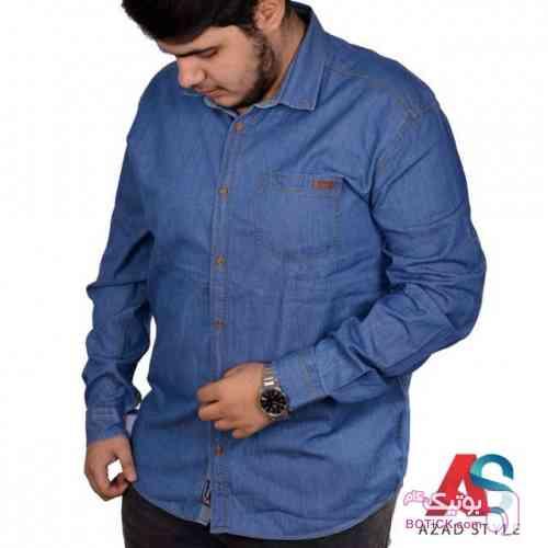 پیراهن سایز بزرگ جین کد محصول ebf 103 سفید سایز بزرگ مردانه
