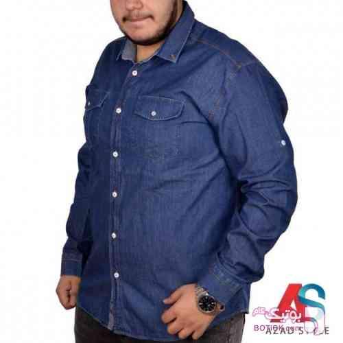 پیراهن سایز بزرگ جین کد محصول ebf101 سفید سایز بزرگ مردانه