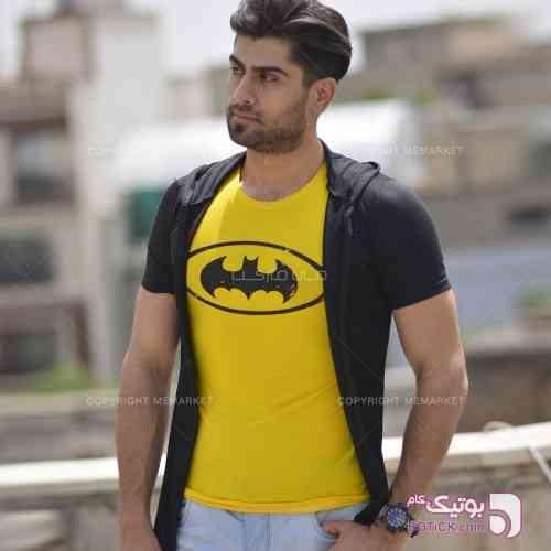 تيشرت دو تكه مردانه BATMAN زرد تی شرت مردانه