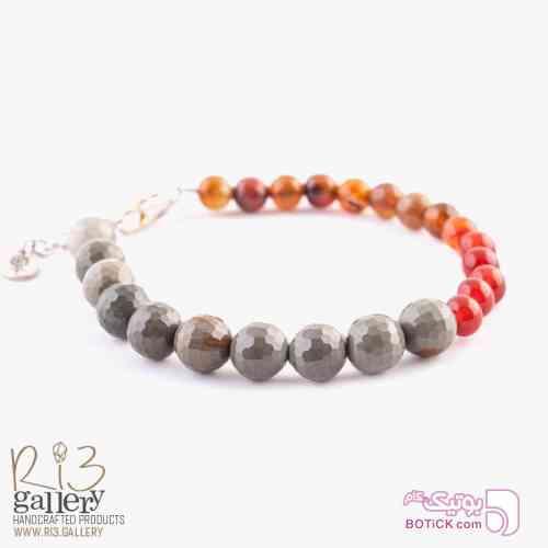 دستبند سنگ عقیق سرخ و خزه ای نارنجی دستبند و پابند
