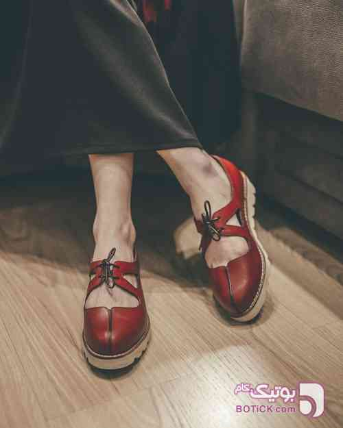 کفش چرم زرشکی كفش زنانه