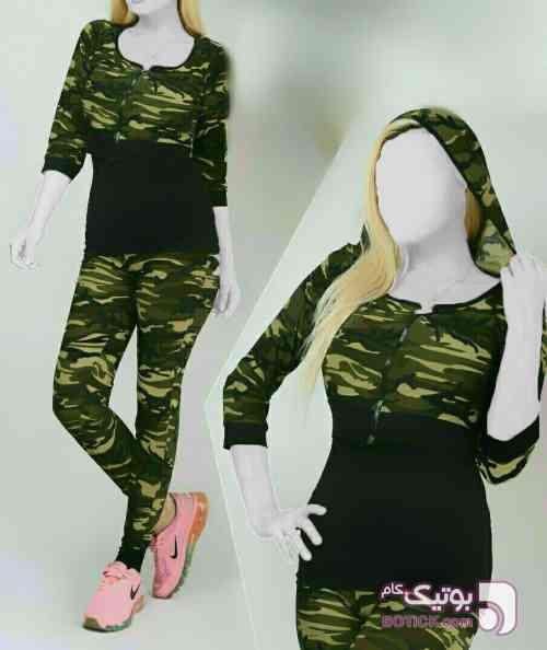 سه تیکه ارتشی جلو زیپدار سبز لباس راحتی زنانه