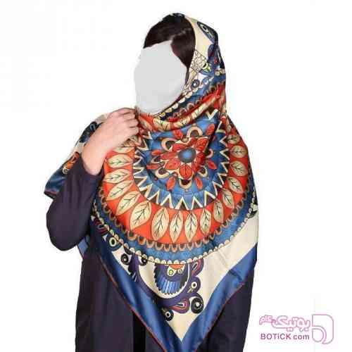 روسری ترک ساتن ابریشم برند toto  آبی شال و روسری