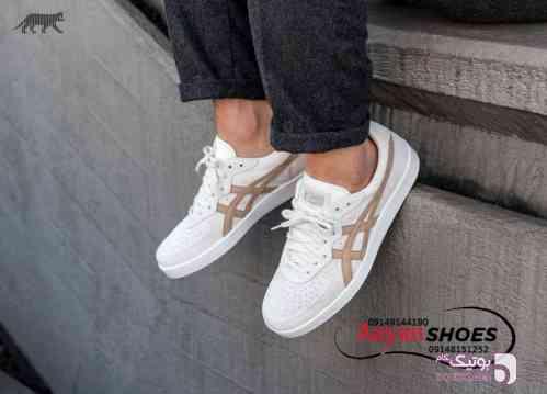 کفش چرمی اورجینال برند ژاپنی آسیکس  سفید کفش ورزشی