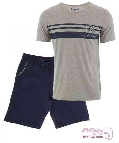 ست تیشرت و شلوارک مردانه جین وست طوسی لباس راحتی مردانه