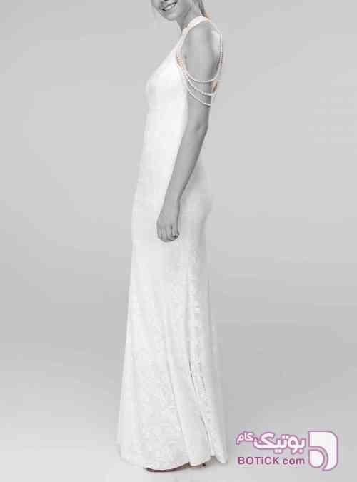 طوری طرح سفید بنفش لباس  مجلسی