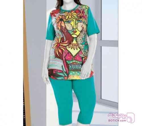 تیشرت شلوارک سایز بزرگ سبز لباس راحتی زنانه