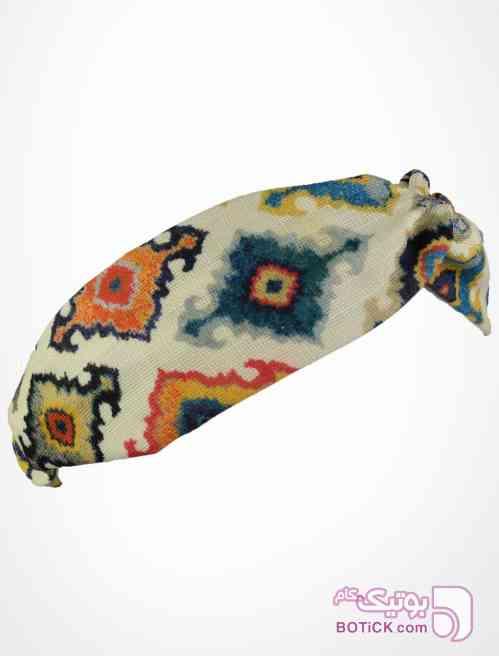هدبند گره ای طرح گلیمی سفید شال و روسری
