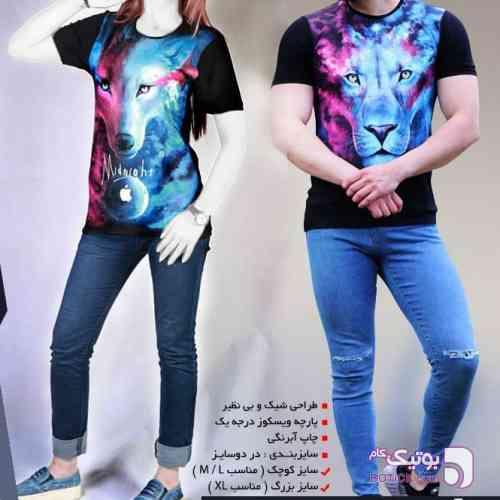 ست تیشرتLion & Wolf  تخفیف70% مشکی تی شرت زنانه