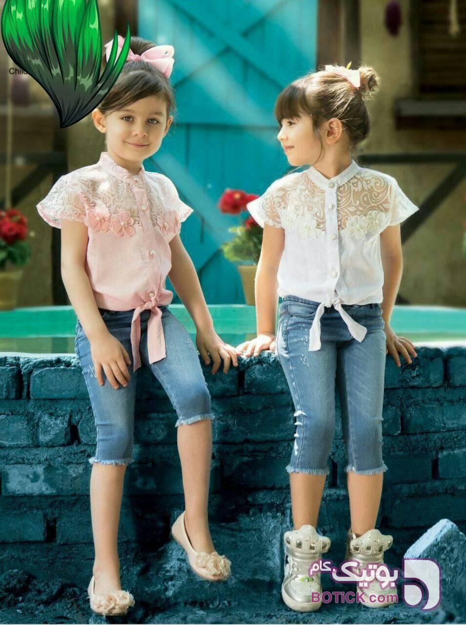 بلوز شلوارک گره ای  صورتی لباس کودک دخترانه