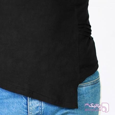 تی شرت یقه شل مدل Round مشکی تی شرتو پولو شرت مردانه