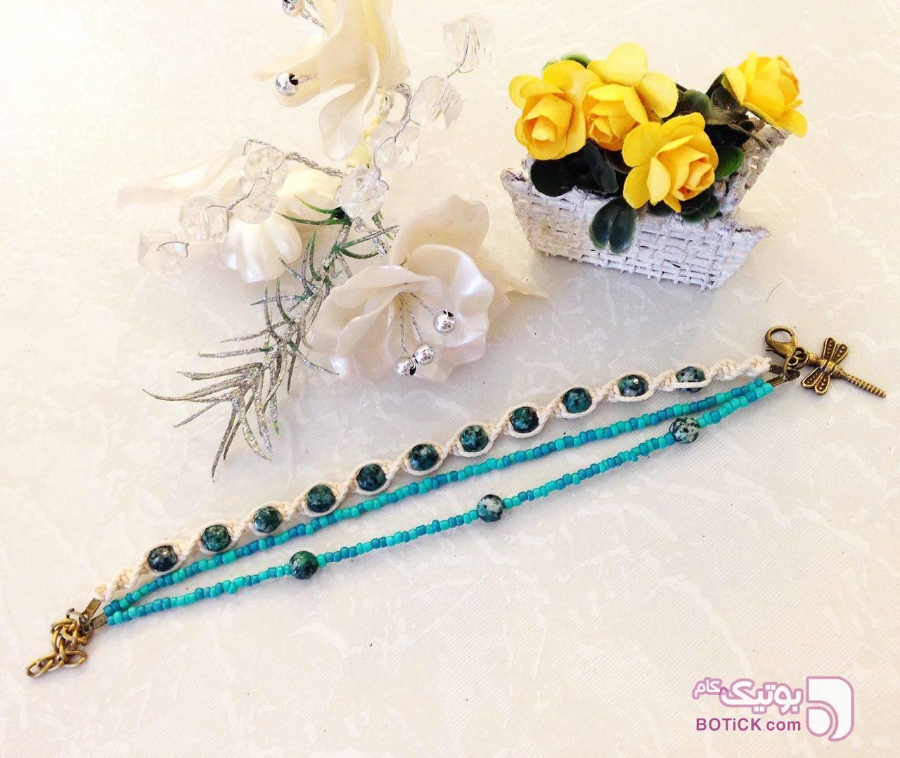 دستبندهاي بافت با سنگ و منجوق صورتی دستبند و پابند