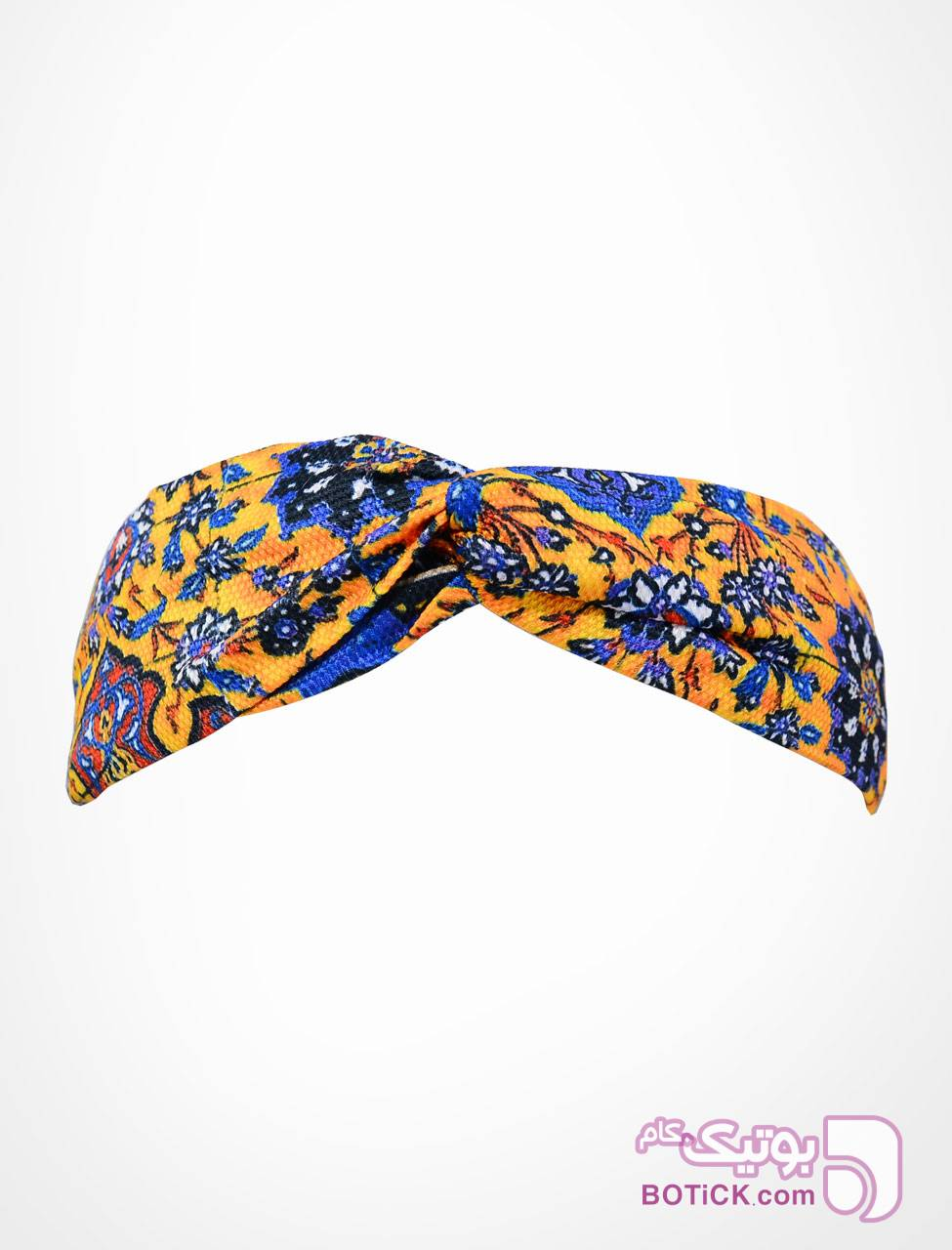 هدبند گره ای طرح کاشی زرد شال و روسری