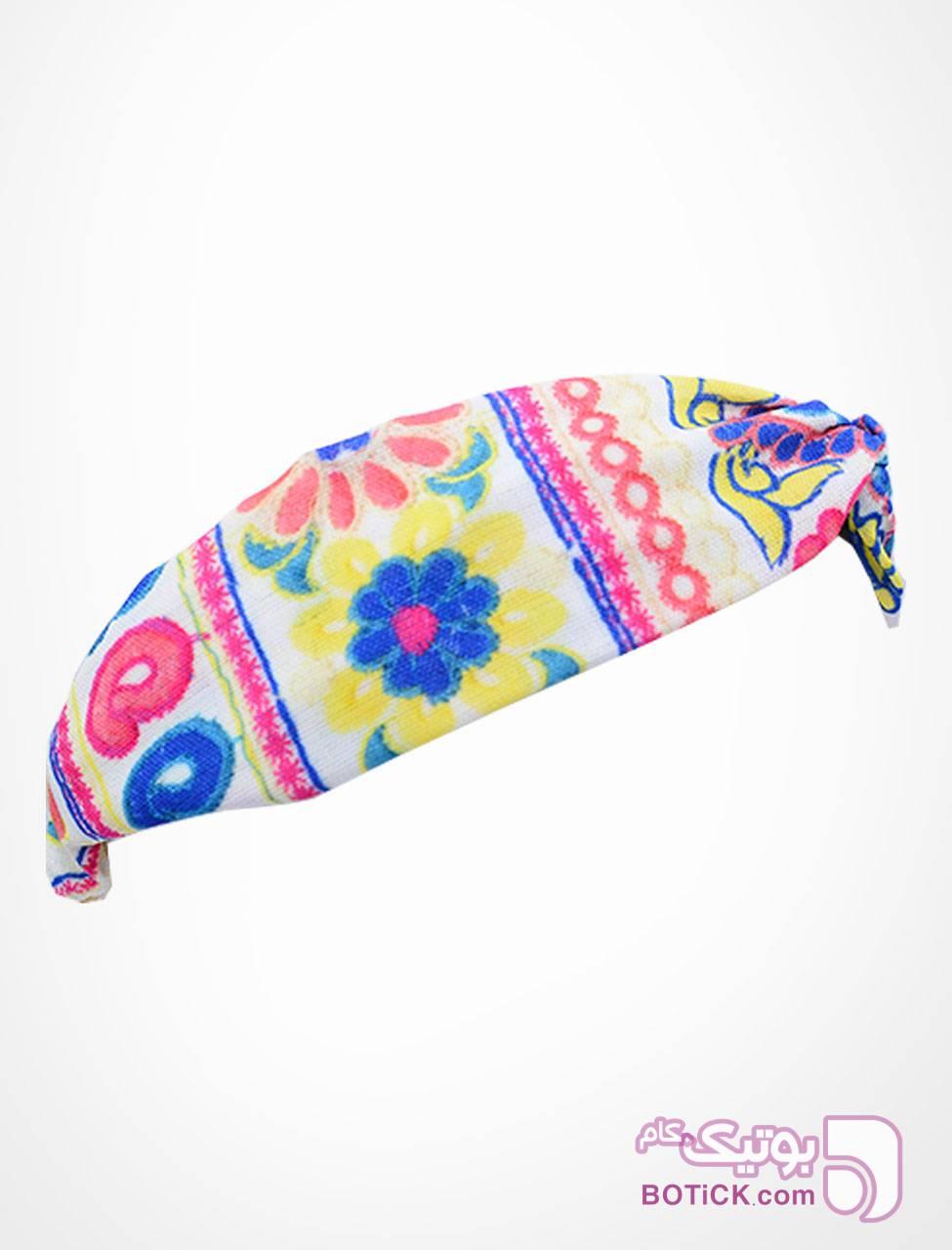 هدبند گره ای طرح گل آبرنگی آبی شال و روسری