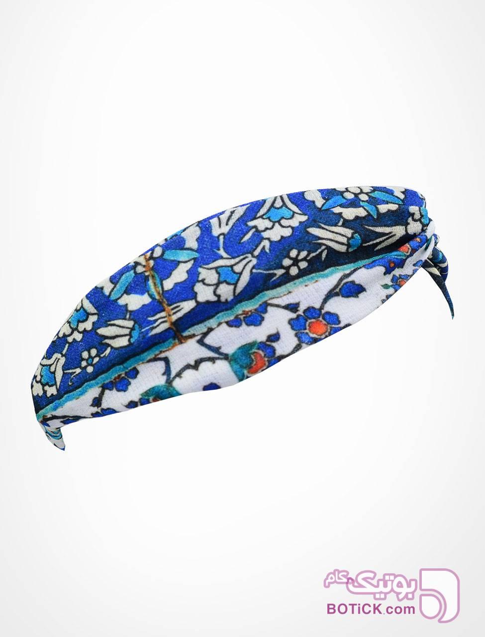هدبند گره ای طرح کاشی آبی شال و روسری