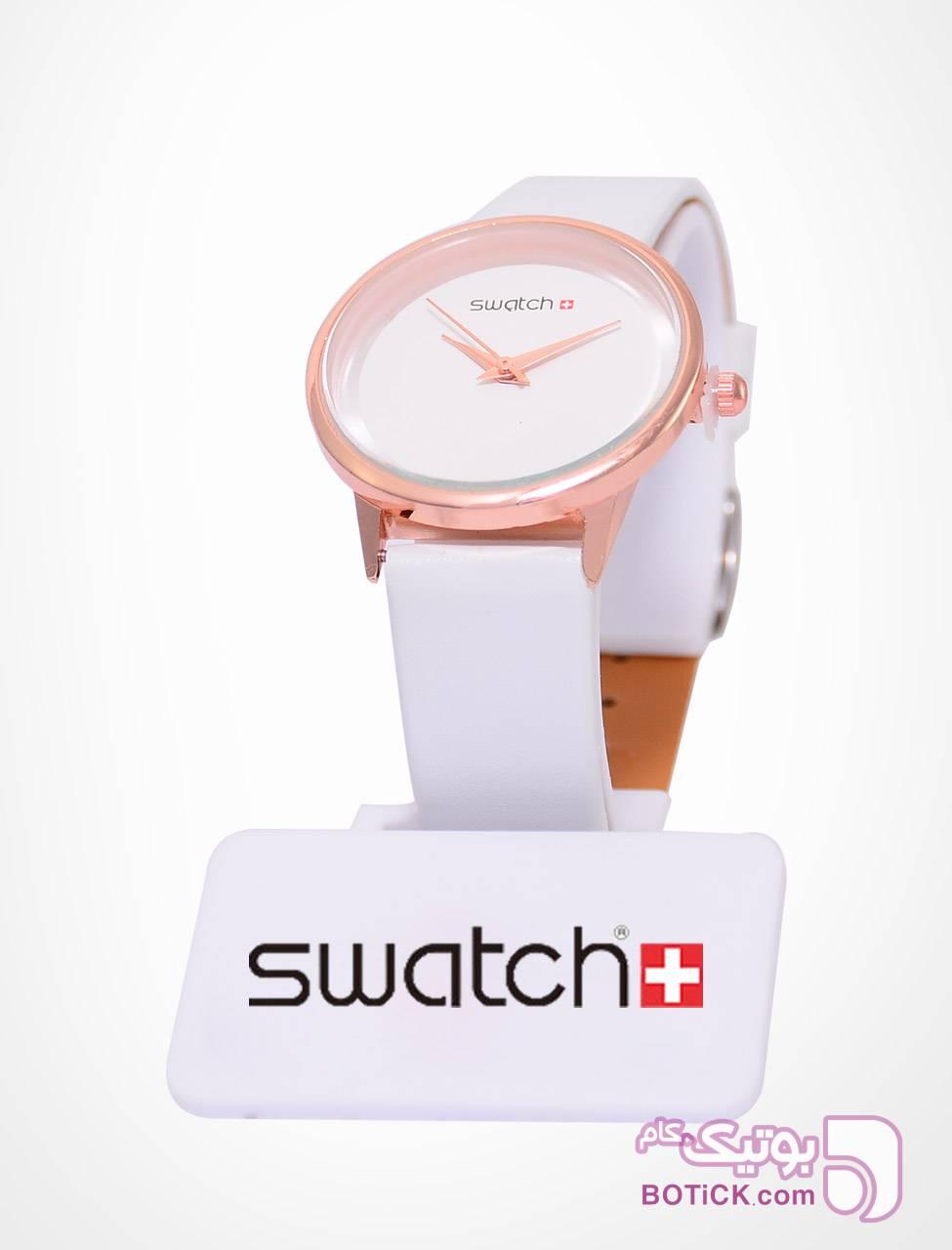 ساعت مچی زنانه صفحه ساده طرح SWATCH مشکی ساعت