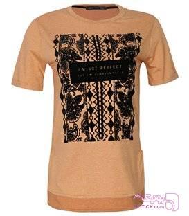 تیشرت چاپ مخمل زنانه نارنجی تی شرت زنانه