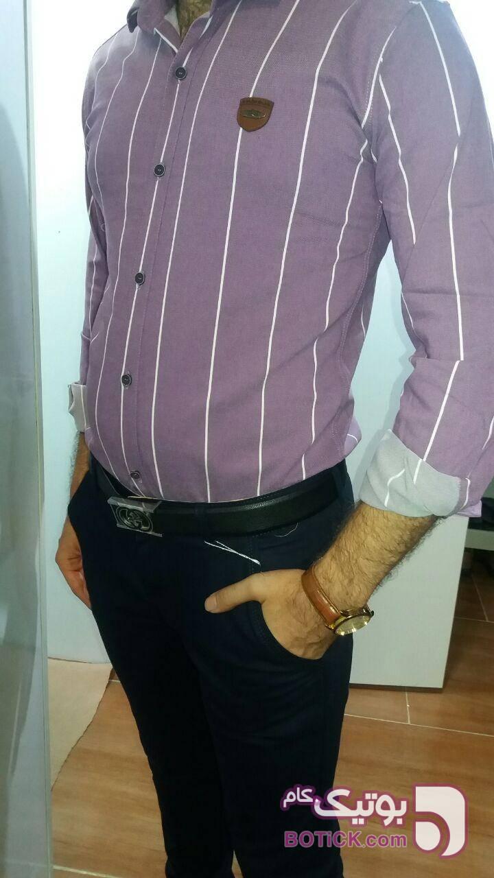 پیراهن نخی بنفش پيراهن مردانه