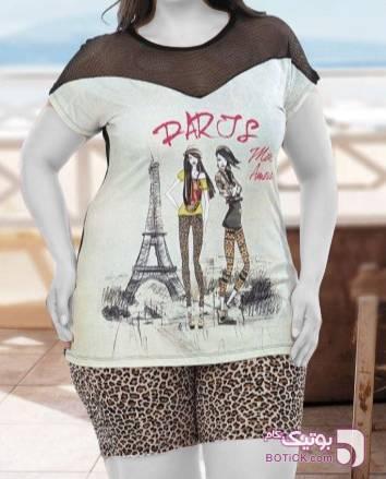 تاپ شرت سایز بزرگ کرم لباس راحتی زنانه