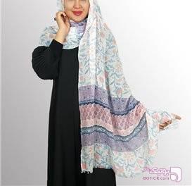 شال طرح دار زنانه سورمه ای شال و روسری