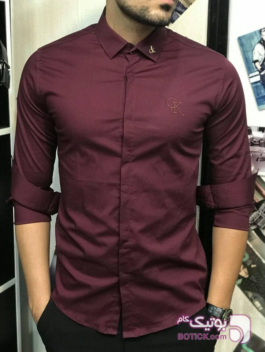 پیراهن ساده دکمه مخفی زرشکی پيراهن مردانه