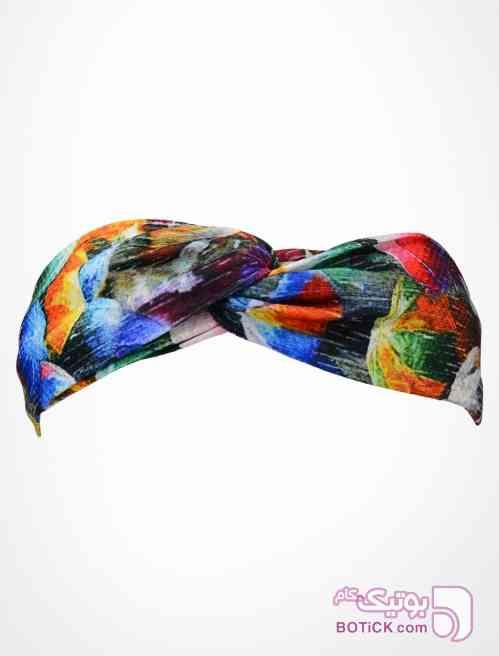 هدبند گره ای طرح چتر رنگی آبی شال و روسری