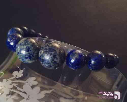 دستبند سنگ لاجورد خالص با رگه های طلا آبی دستبند و پابند