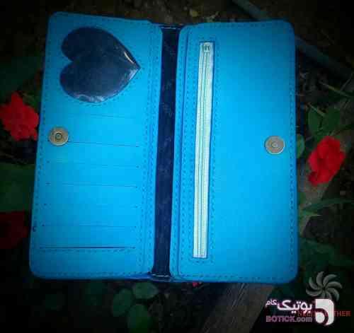 کیف پول چرم طبیعی آبی كيف زنانه