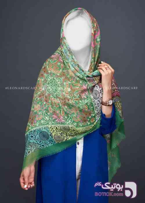 روسری چاپی سبز شال و روسری