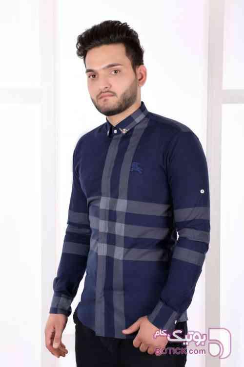 پیراهن مردانه طرح باربری سورمه ای پيراهن مردانه