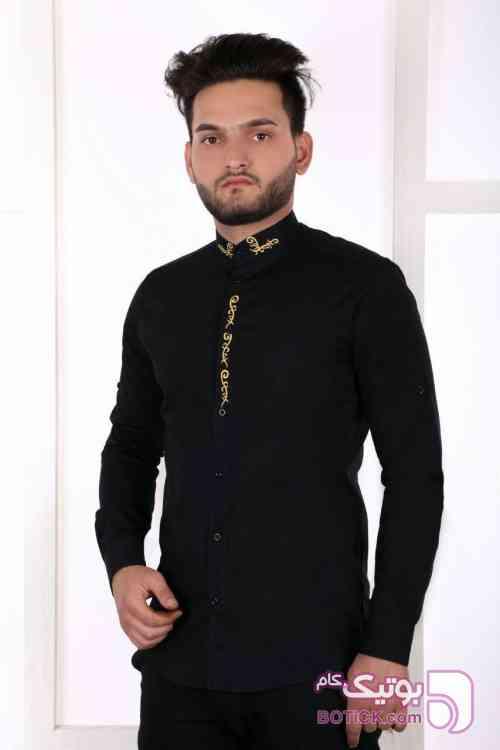 پیراهن مشکی مردانه یقه دیپلمات/ یقه رسمی مشکی پيراهن مردانه