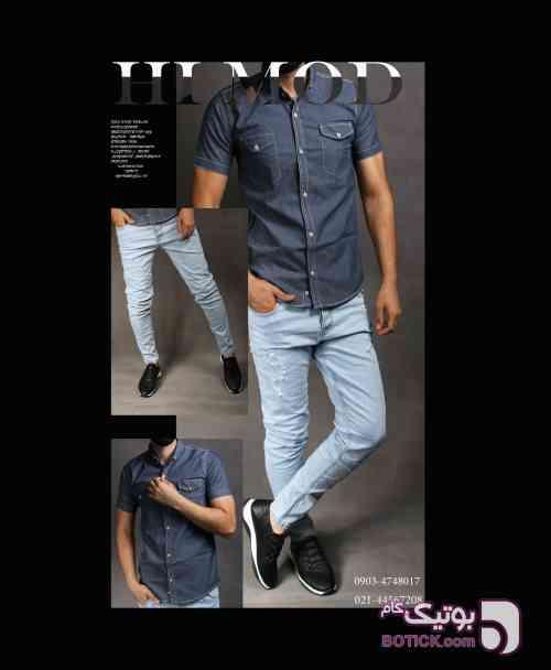 پیراهن جین سورمه ای پيراهن مردانه
