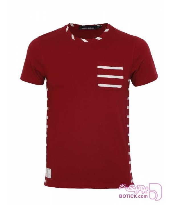 تی شرت آستین کوتاه مردانه ساموئل اند کوین زرشکی تی شرتو پولو شرت مردانه