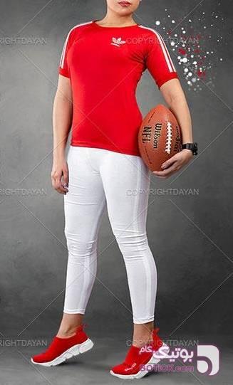 تیشرت➕شلوار زنانه Adidas   قرمز تی شرت زنانه