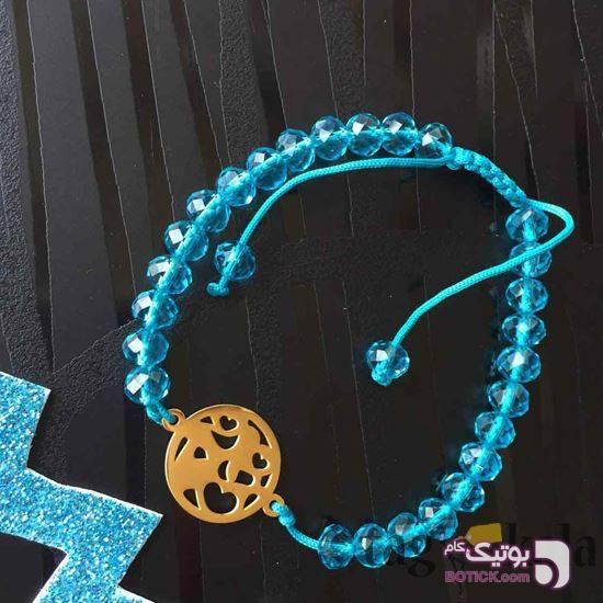 دستبند فانتزی با پلاک استیل فیروزه ای دستبند و پابند