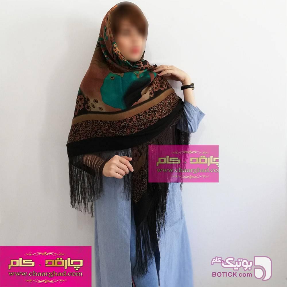 روسری ترکمنی طرح ایتالیایی مشکی شال و روسری