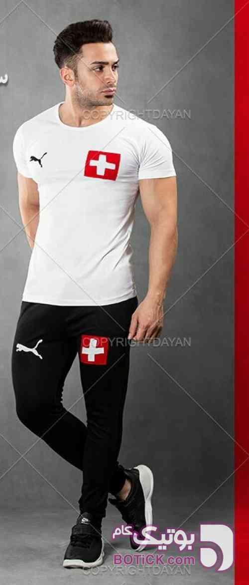 تیشرت و شلوارSwitzerland مشکی ست ورزشی مردانه