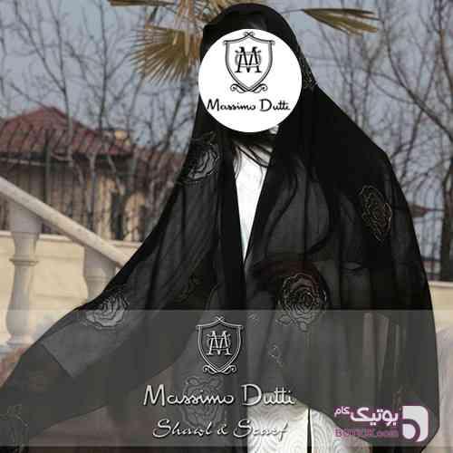 شال حریر مجلسی VIP ماسیمودوتی مشکی شال و روسری