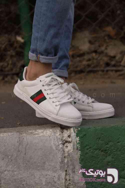 کفش کتانی مردانه مدل Gucci  سفید كتانی مردانه