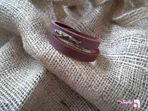 دستبند چرم گاو میش دو ردیفه مشکی دستبند و پابند