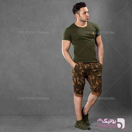 ست تیشرت و شلوارک مردانه Melaz سبز ست ورزشی مردانه