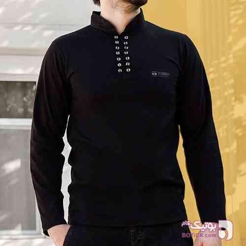 تیشرت ساده محرم چهارده دکمه مشکی تی شرت مردانه