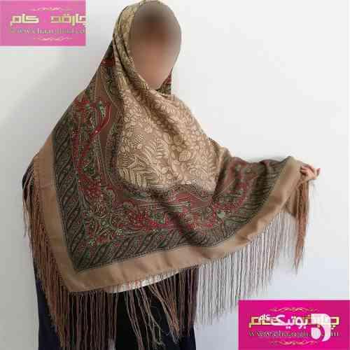 روسری ترکمنی بهاره کرم شال و روسری