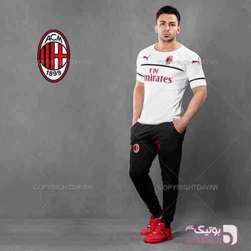 ست تیشرت و شلوار AC Milan مدل Estez مشکی ست ورزشی مردانه
