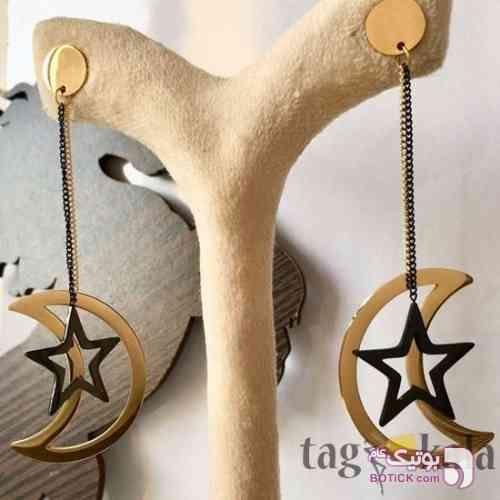 گوشواره آویز مدل ماه و ستاره زرد گوشواره