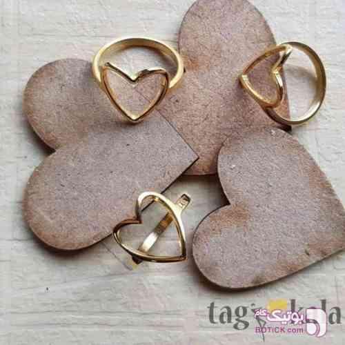 انگشتر استیل طرح قلب زرد انگشتر