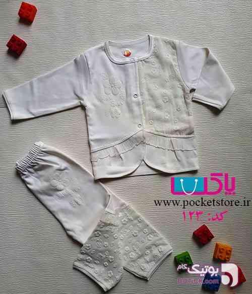 بلوز و شلوار خانگی آستین دار طرح گل سفید لباس کودک دخترانه