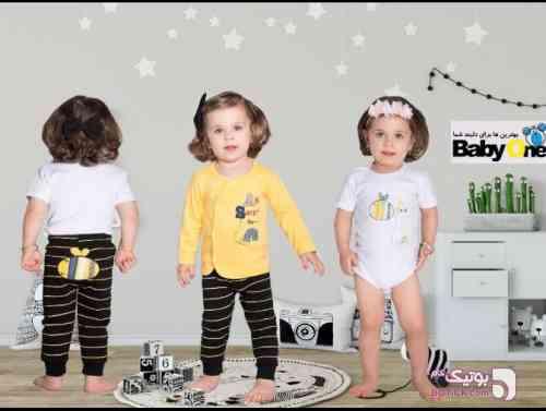 سه تیکه بیبی وان زرد لباس کودک پسرانه